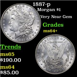 1887-p Morgan Dollar $1 Grades Choice+ Unc