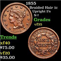 1855 Braided Hair Large Cent 1c Grades vf++