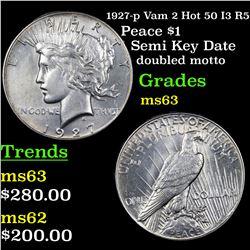 1927-p Vam 2 Hot 50 I3 R5 Peace Dollar $1 Grades Select Unc