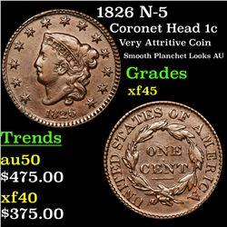 1826 N-5 Coronet Head Large Cent 1c Grades xf+