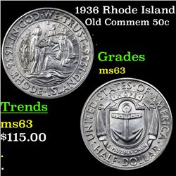 1936 Rhode Island Old Commem Half Dollar 50c Grades Select Unc