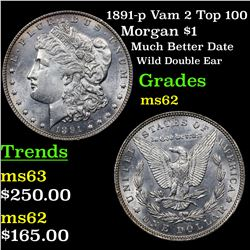 1891-p Vam 2 Top 100 Morgan Dollar $1 Grades Select Unc
