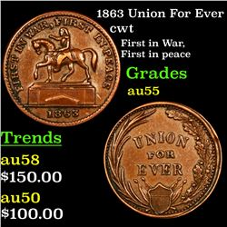 1863 Union For Ever Civil War Token 1c Grades Choice AU