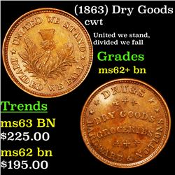 (1863) Dry Goods Civil War Token 1c Grades Select Unc BN