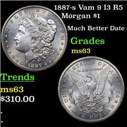1887-s Vam 9 I3 R5 Morgan Dollar $1 Grades Select Unc