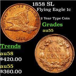 1858 SL Flying Eagle Cent 1c Grades Choice AU
