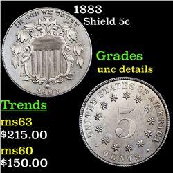 1883 Shield Nickel 5c Grades Unc Details