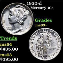 1920-d Mercury Dime 10c Grades Select+ Unc