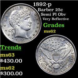 1892-p Barber Quarter 25c Grades Select Unc