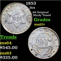 1853 Three Cent Silver 3cs Grades Select+ Unc