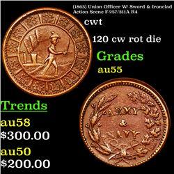 (1863) Union Officer W/ Sword & Ironclad Action Scene F-257/311A R4 CWT 1c Grades Choice AU