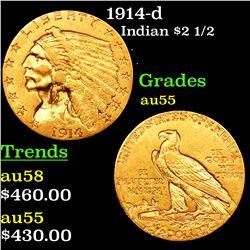 1914-d Gold Indian Quarter Eagle $2 1/2 Grades Choice AU
