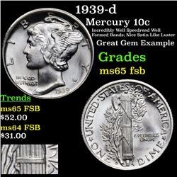 1939-d Mercury Dime 10c Grades GEM FSB