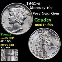 1945-s Mercury Dime 10c Grades Choice Unc+ FSB
