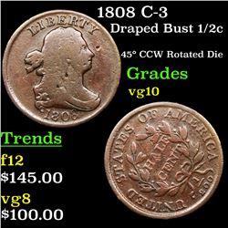 1808 C-3 Draped Bust Half Cent 1/2c Grades vg+