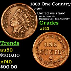1863 One Country Civil War Token 1c Grades xf+