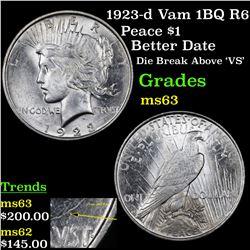 1923-d Vam 1BQ R6 Peace Dollar $1 Grades Select Unc