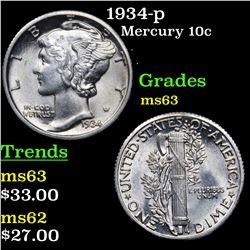 1934-p Mercury Dime 10c Grades Select Unc