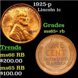 1925-p Lincoln Cent 1c Grades Gem+ Unc RB