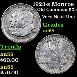 1923-s Monroe Old Commem Half Dollar 50c Grades Choice AU/BU Slider