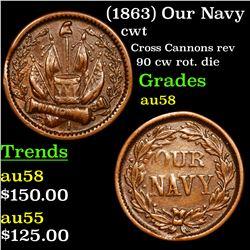 (1863) Our Navy Civil War Token 1c Grades Choice AU/BU Slider