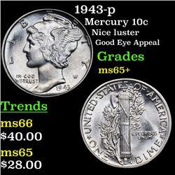 1943-p Mercury Dime 10c Grades GEM+ Unc