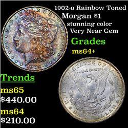 1902-o Rainbow Toned Morgan Dollar $1 Grades Choice+ Unc