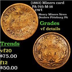 (1863) Miners card PA-765-M-16 Civil War Token 1c Grades vf details