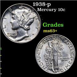 1938-p Mercury Dime 10c Grades Select+ Unc