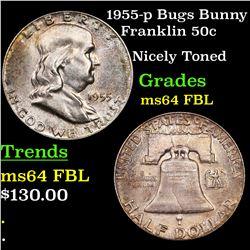 1955-p Bugs Bunny Franklin Half Dollar 50c Grades Choice Unc FBL