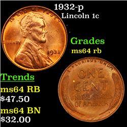 1932-p Lincoln Cent 1c Grades Choice Unc RB