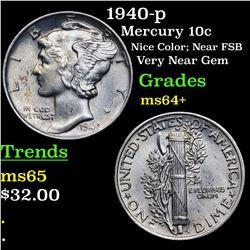 1940-p Mercury Dime 10c Grades Choice+ Unc