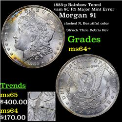 1885-p Rainbow Toned vam 9C R5 Major Mint Error Morgan $1 Grades Choice+ Unc