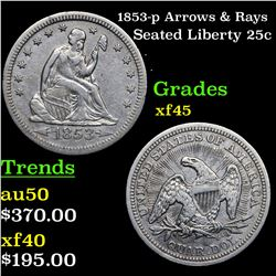 1853-p Arrows & Rays Seated Liberty Quarter 25c Grades xf+