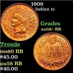 1906 Indian Cent 1c Grades Choice AU/BU Slider+ RB