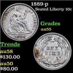 1889-p Seated Liberty Dime 10c Grades Choice AU