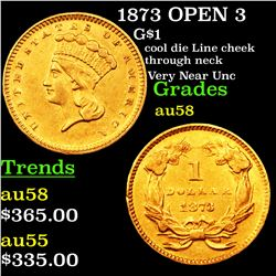 1873 OPEN 3 Gold Dollar $1 Grades Choice AU/BU Slider