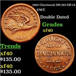 1863 Cincinnati OH-165-GR-1A Civil War Token 1c Grades xf
