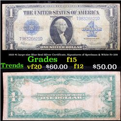 1923 $1 large size Blue Seal Silver Certificate, Signatures of Speelman & White Fr-239 Grades f+