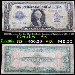 1923 $1 large size Blue Seal Silver Certificate, Signatures of Speelman & White Fr-239 Grades f, fin