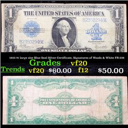 1923 $1 large size Blue Seal Silver Certificate, Signatures of Woods & White FR-238 Grades vf, very