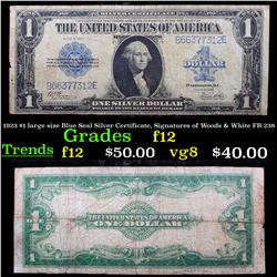 1923 $1 large size Blue Seal Silver Certificate, Signatures of Woods & White FR-238 Grades f, fine