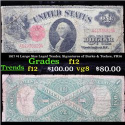 1917 $1 Large Size Legal Tender, Signatures of Burke & Teehee, FR36 Grades f, fine