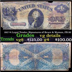 1917 $1 Legal Tender, Signatures of Bruce & Wyman, FR-30 Grades vg details