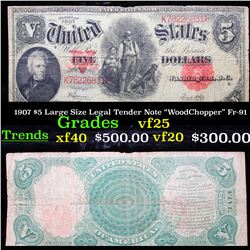 "1907 $5 Large Size Legal Tender Note ""WoodChopper"" Fr-91 Grades vf+"