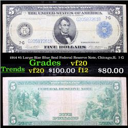 1914 $5 Large Size Blue Seal Federal Reserve Note, Chicago,IL  7-G Grades vf, very fine