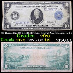 1914 Large Size $10 Blue Seal Federal Reserve Note (Chicago, IL) 7-G Grades vf, very fine