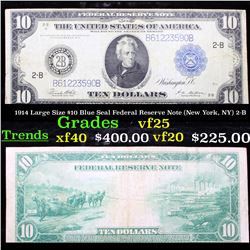 1914 Large Size $10 Blue Seal Federal Reserve Note (New York, NY) 2-B Grades vf+