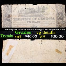January 1st, 1863 $2 State of Georgia, Milledgevill CR-11a Grades vg details
