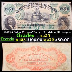 1857 $5 Dollar Citizens' Bank of Louisiana Shreveport Grades Choice AU